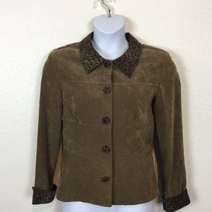 Ultra Suede and Animal Print Brown Jacket Size 10
